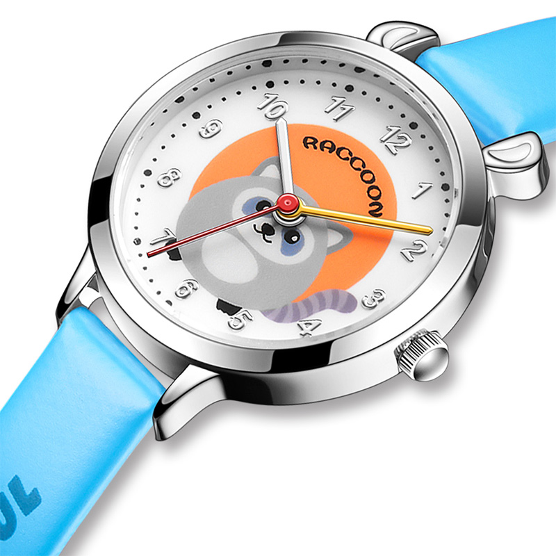 KDM Fashion Girl Clock Casual Cartoon Mouse Children's Watches Leather Strap Waterproof Watches Cute Style Quartz Wristwatches