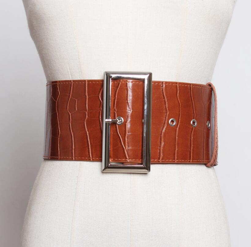 Women's Runway Fashion Crocodile Grain Pu Leather Cummerbunds Female Dress Corsets Waistband Belts Decoration Wide Belt R2562