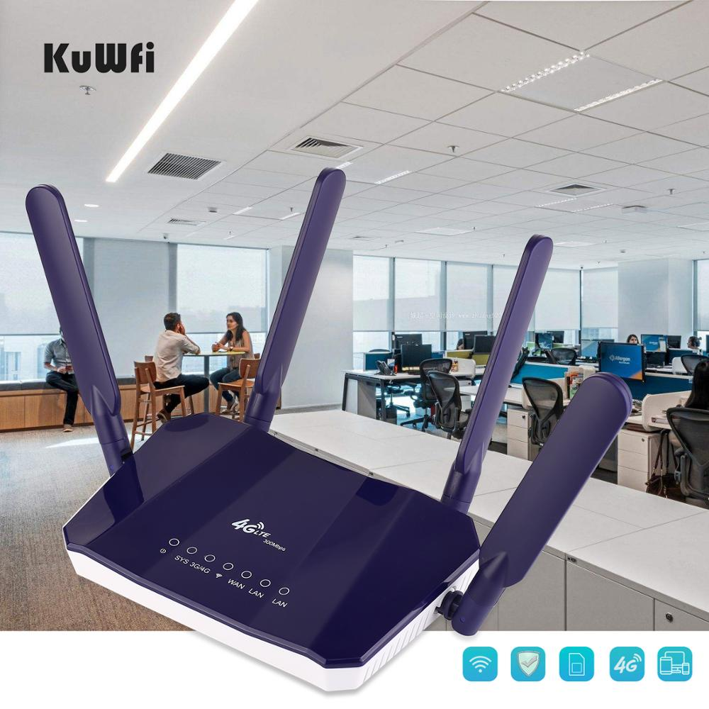 Image 5 - KuWFi 4G LTE CPE Wireless Router 300Mbps Indoor Wireless CPE Router 4Pcs Antennas With LAN Port Wifi Router SIM Card Slot-in 3G/4G Routers from Computer & Office
