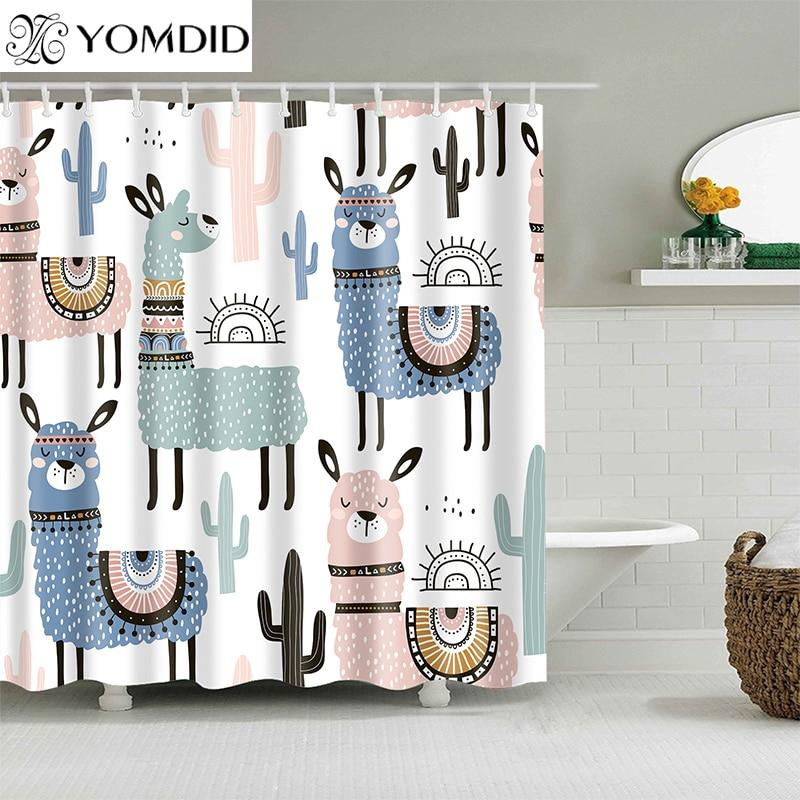 Cortina de baño de patrón de Alpaca cortinas de ducha impermeables de poliéster de dibujos animados cortina de baño impresa para decoración del hogar del baño