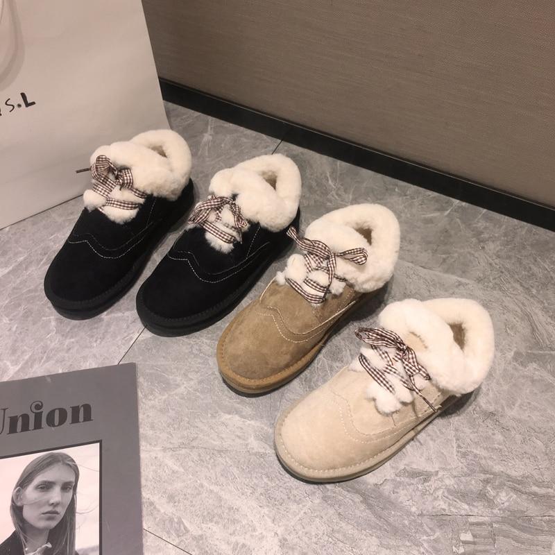 Women's shoes snow boots short tube 2019 winter plus velvet warm non-slip thick-soled lace-up cotton shoes 17