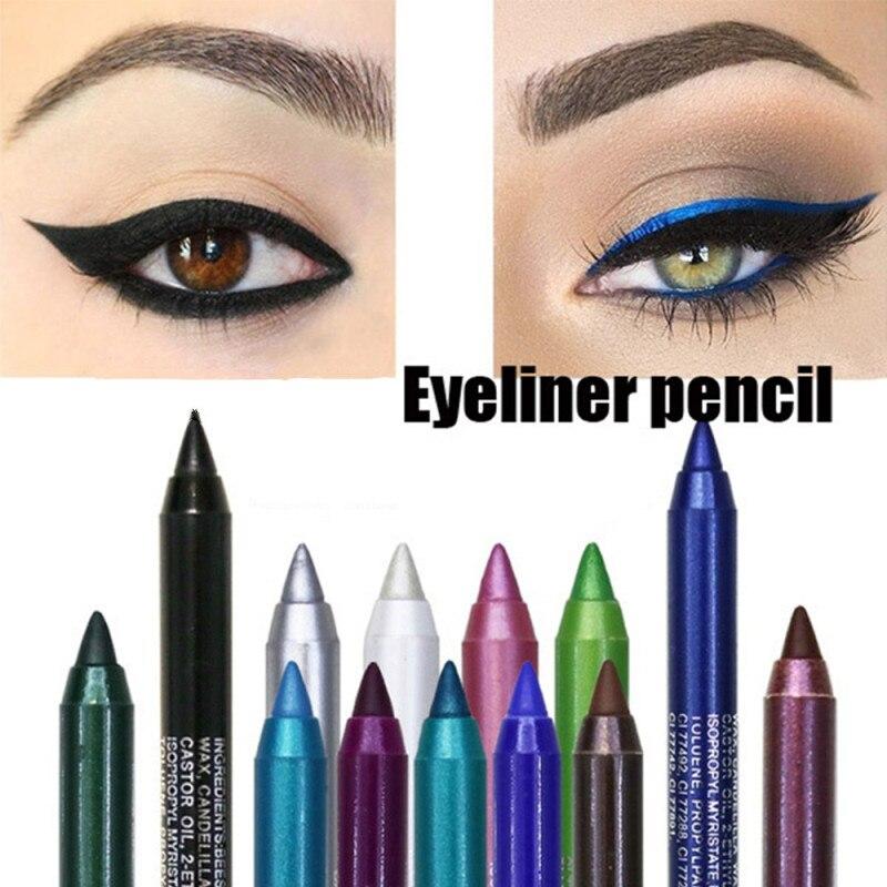 1 Uds. Bolígrafo delineador de Ojos de 14 colores brillante mate de secado rápido duradero a prueba de agua que no florece delineador de ojos lápiz maquillaje cosméticos TSLM1