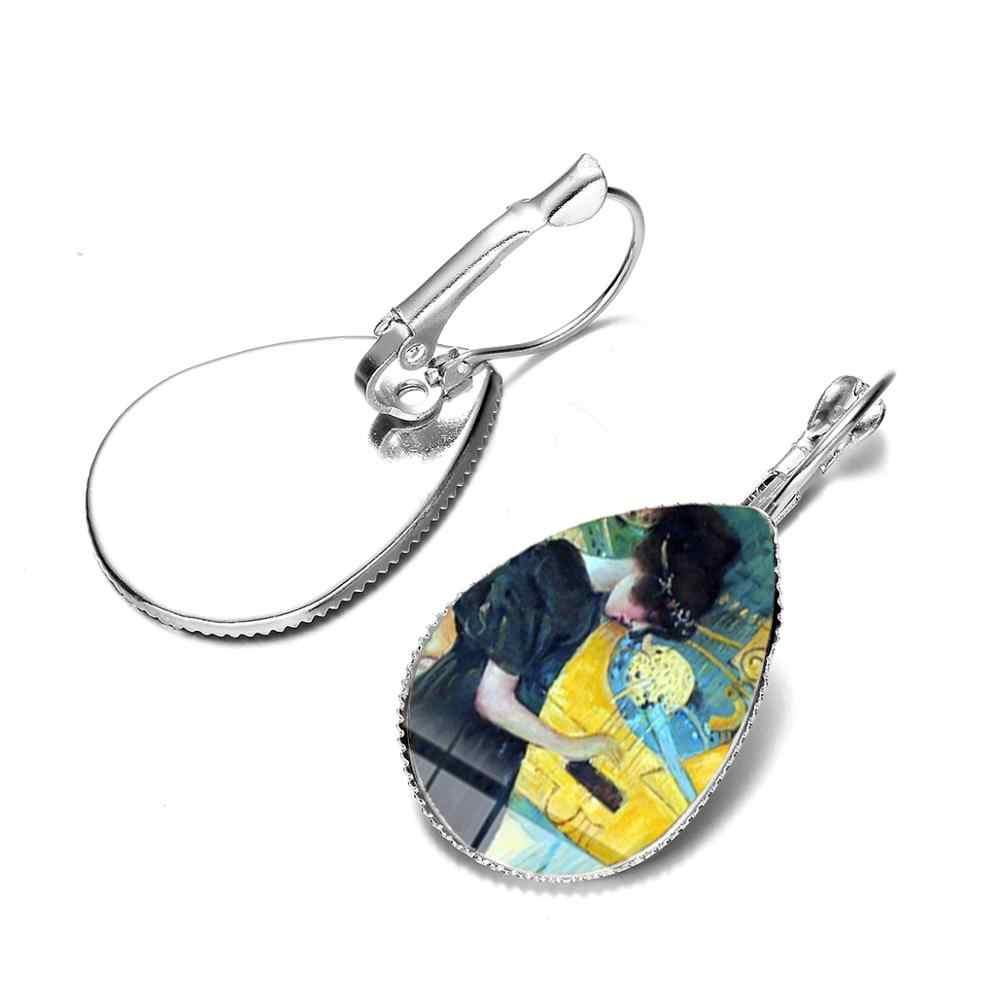 SONGDA gorąca gustav klimt pocałunek malowanie kolczyki pocałunek matki dzieciątko szklany kopuła kropla wody kolczyki Handmade vintage art biżuteria