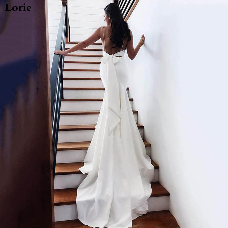 LORIE Mermaid Wedding Dress 2020 Vestidos De Novia Spaghetti Straps Soft Satin Sexy Bridal Gown Elegant Backless Wedding Gowns