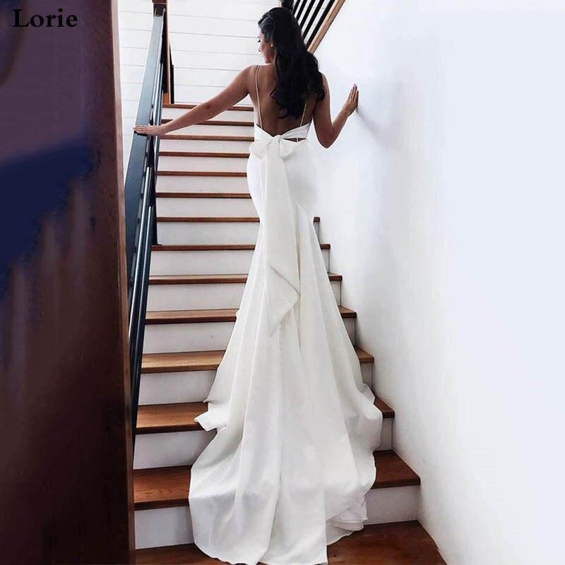 LORIE Mermaid Wedding Dress 2020 Vestidos De Novia Spaghetti Straps Soft Satin Sexy Bridal Gown Elegant Backless Wedding Gowns