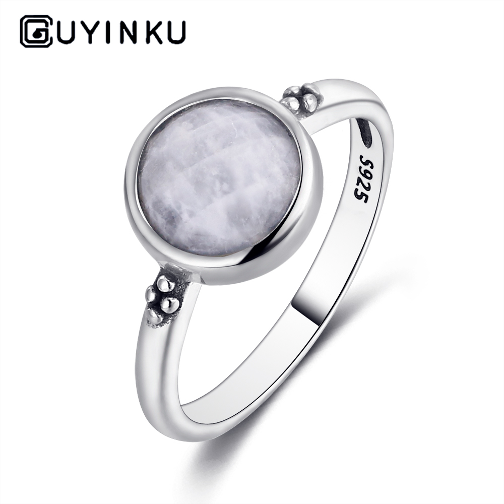 2019 925 Silver Ring Round 8MM Natural Moonstone Retro Gemstone Ring Engagement Wedding Party Gift Wholesale