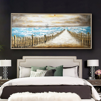 Light Living Room European-style Luxury hand-painted Oil Painting Decorative Abstract Sea Bed Painted Wall