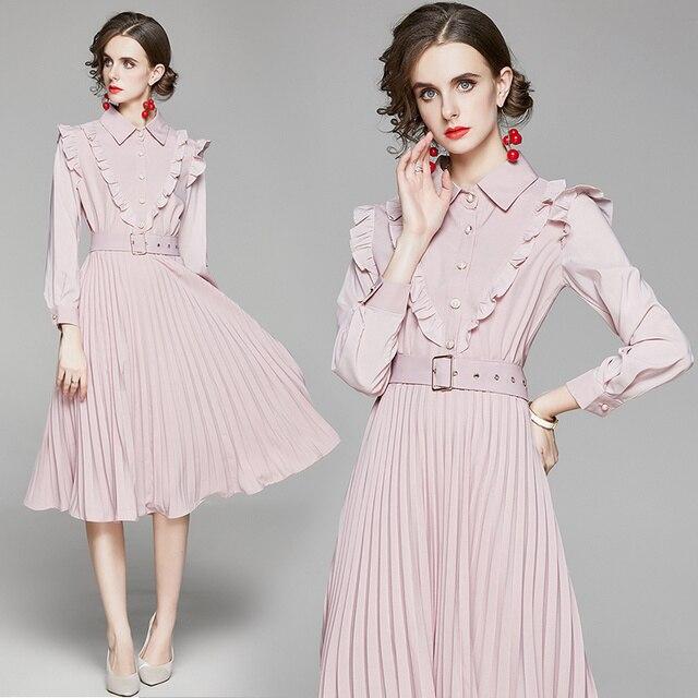 2020 New Autumn Ruffles Pink Chiffon Dress Women Long Sleeve Slim Waist Belted Pleated Dress Female Pearls Button Midi Dress 2