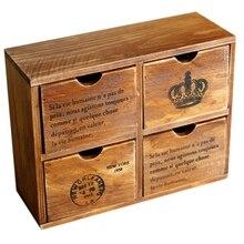 4 cajones organizador de almacenamiento de madera pequeño escritorio cajas de gabinete decorativas para artesanías Vintage organizador de joyas Chic francés y Cro