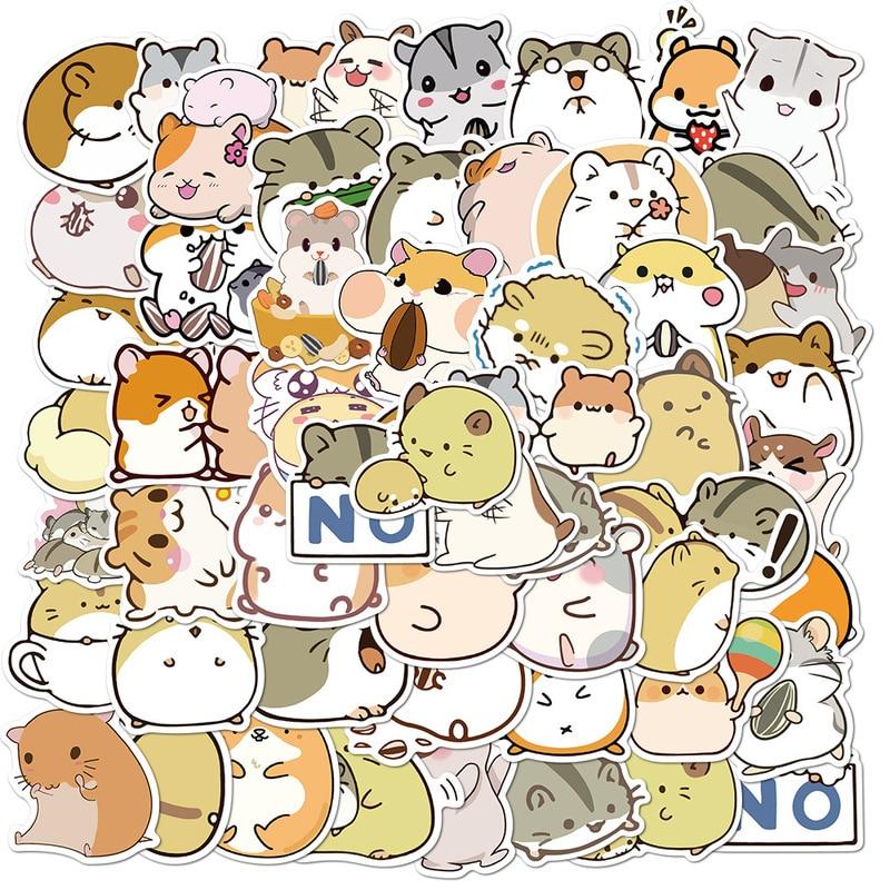 Paquete de pegatinas con dibujos de animales para niñas, 50 Uds., para álbum de recortes, papelería, portátil, teléfono, maleta para guitarra