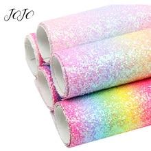 JOJO BOWS 22*30cm 5pcs Rainbow Chunky Glitter Fabric Sheets For Needlework DIY Craft Supplies Handmade Hair Bows Home Decoration