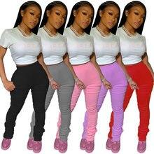 Штаны спортивные женские, уличная одежда, джоггеры с завышенной талией, леггинсы в складку, женские брюки с рюшами
