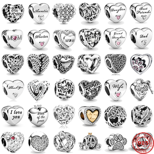 Heart Shape 925 Sterling Silver Sisiter Family Mum Mom of My Heart Charms DIY Beads Fit Original Pandora Charm Bracelet Jewelry