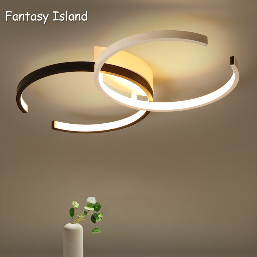 LED Ceiling Light Lighting Fixture Double C Ceiling Lamp Flush Mount Dimmable with Remote Control Modern Chic Style Ring-Desi