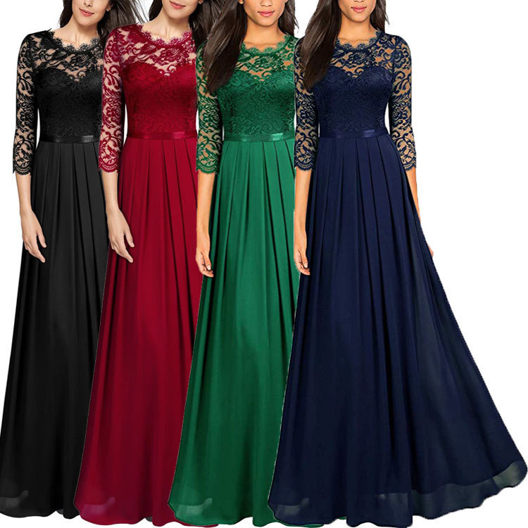 BacklakeGirls Sexy Hollow Out Lace Split Joint Round Neck Chiffon Evening Dress With Sleeves Plus Size For Women Robe De Soiree