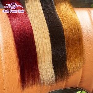 Image 5 - Tạo Cảm Giác Mềm Mại Tóc 1/3/4 Viên Tóc Vàng Bó Ombre Brasil Tóc Thẳng Lưng T1B/27 Tóc Dệt các Bó Remy Phần Mở Rộng