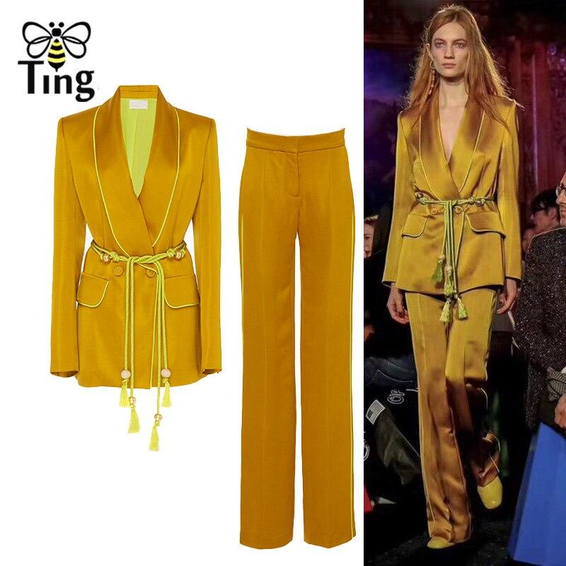 Tingfly Runway Designer Blazers Suits Two Pieces Set Women Vintage Elegant Blazer Suit Coat + Long Pants Women Sets Party Suit