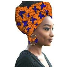 Diadema + pendiente traje 2019 noticias ropa Africana bufanda tradicional cabeza Dashiki turbante 100% algodón cera Africana vestidos de mujer