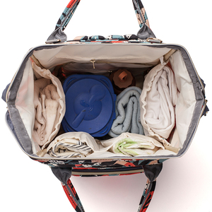 Image 5 - ดอกไม้พิมพ์กระเป๋าผ้าอ้อมกระเป๋าคลอดบุตรผ้าอ้อมกระเป๋าเดินทางท่องเที่ยวกลางแจ้งขนาดใหญ่ความจุ Baby Care กระเป๋าสำหรับรถเข็นเด็ก LEQUEEN