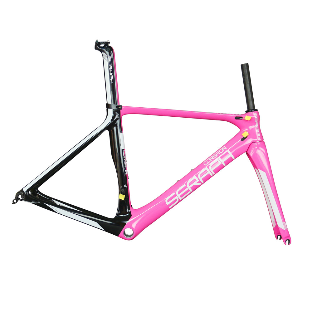Seraph Newest Custom Pink Paint Carbon Fiber BB86 Carbon Road Frame FM268