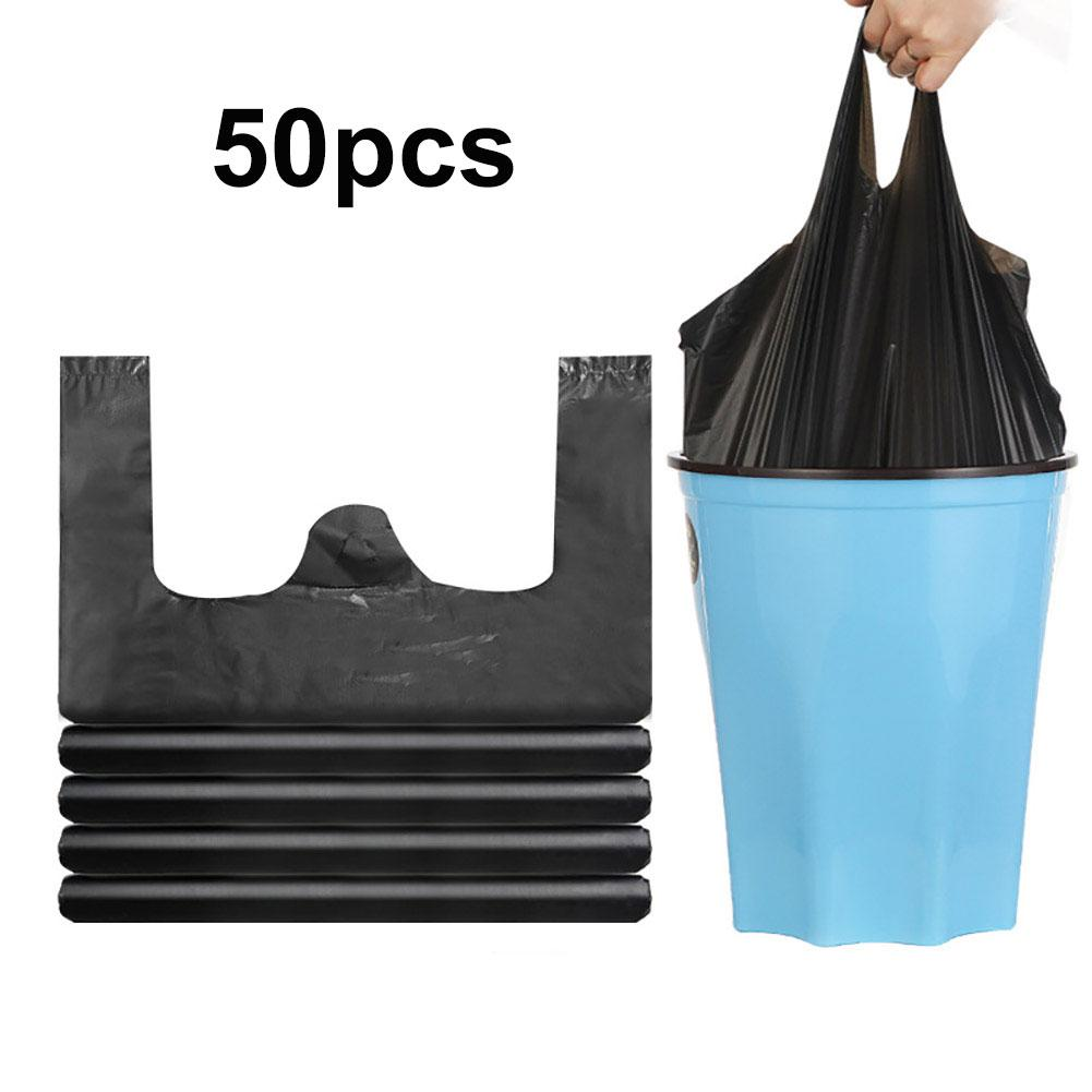 50Pcs Disposable Thicken Vest Type Garbage Bag Black Household Portable Plastic Garbage Waste Trash Bags With Handle