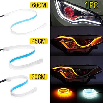 1Pc 12V DRL LED Daytime Running Lights 30Cm Flexible Brake Guide Strips Headlight Auto Day Time Flowing Lamps Car Styling image