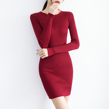 Autumn Winter Women Winter Dress Slim Soft Rib Knitted Dress Autumn O-Neck Mid-Calf Femme Sweater Dresses 2019 Gray Red Black turtle neck stripe rib panel knitted sweater