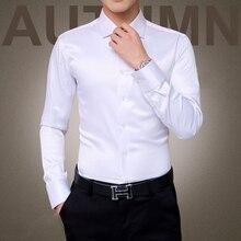 Plus rozmiar 5XL 2020 nowych mężczyzna luksusowe koszule suknia ślubna koszula z długim rękawem jedwabna koszula Tuxedo mężczyźni merceryzowanej bawełny koszula