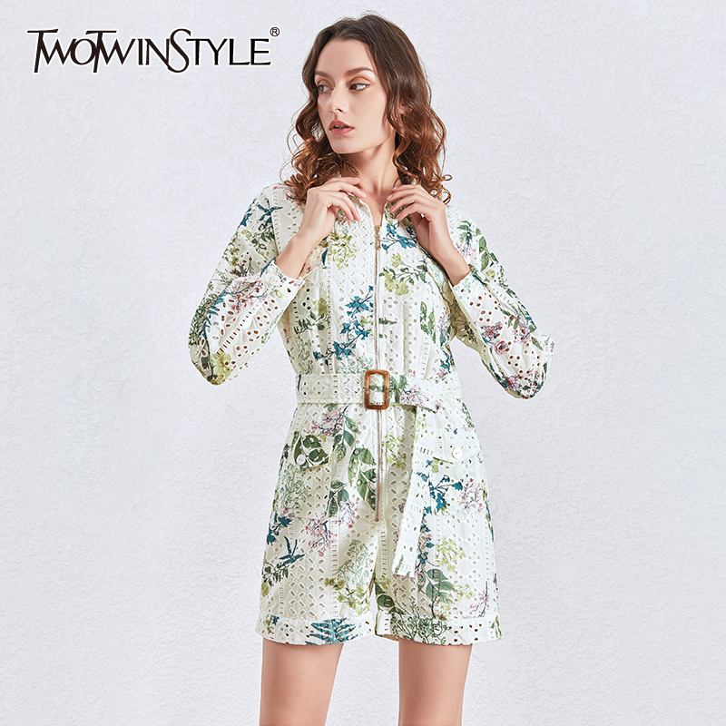 TWOTWINSTYLE Vintage Printed Casual Playsuits Women Long Sleeve Zipper Lace Up Playsuits Female 2020 Spring Summer Fashion New