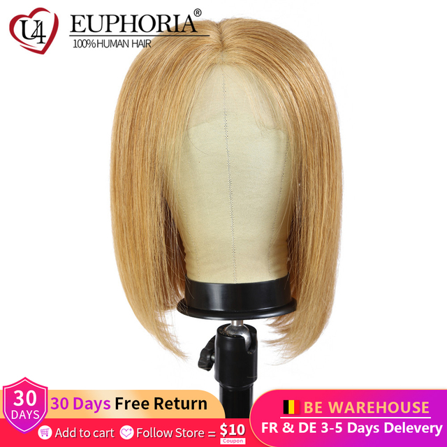 13x4 Lace Front Wigs Straight Blonde 27 Human Hair Wigs Brown Short Bob Lace Frontal Wigs Peruvian Remy Hair Middle Part Euphori