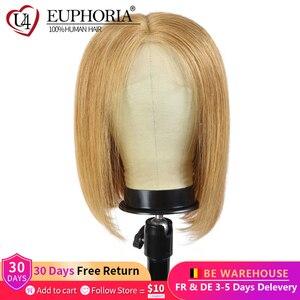 Image 1 - 13x4 perucas dianteiras do laço em linha reta loira 27 perucas de cabelo humano marrom curto bob laço frontal perucas peruano remy cabelo parte do meio eufori