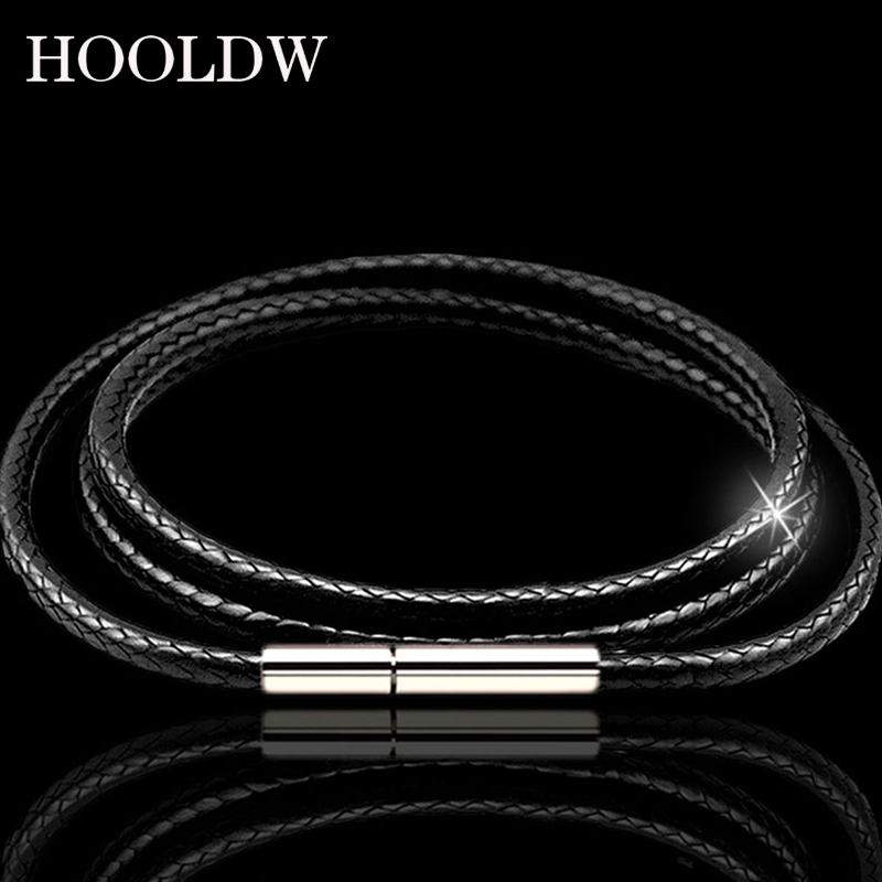 Men Women Leather Cord Necklace Cord Wax Rope Lace Chain Stainless Steel Rotary Clasp For DIY Pendant Necklaces Bracelet Jewelry