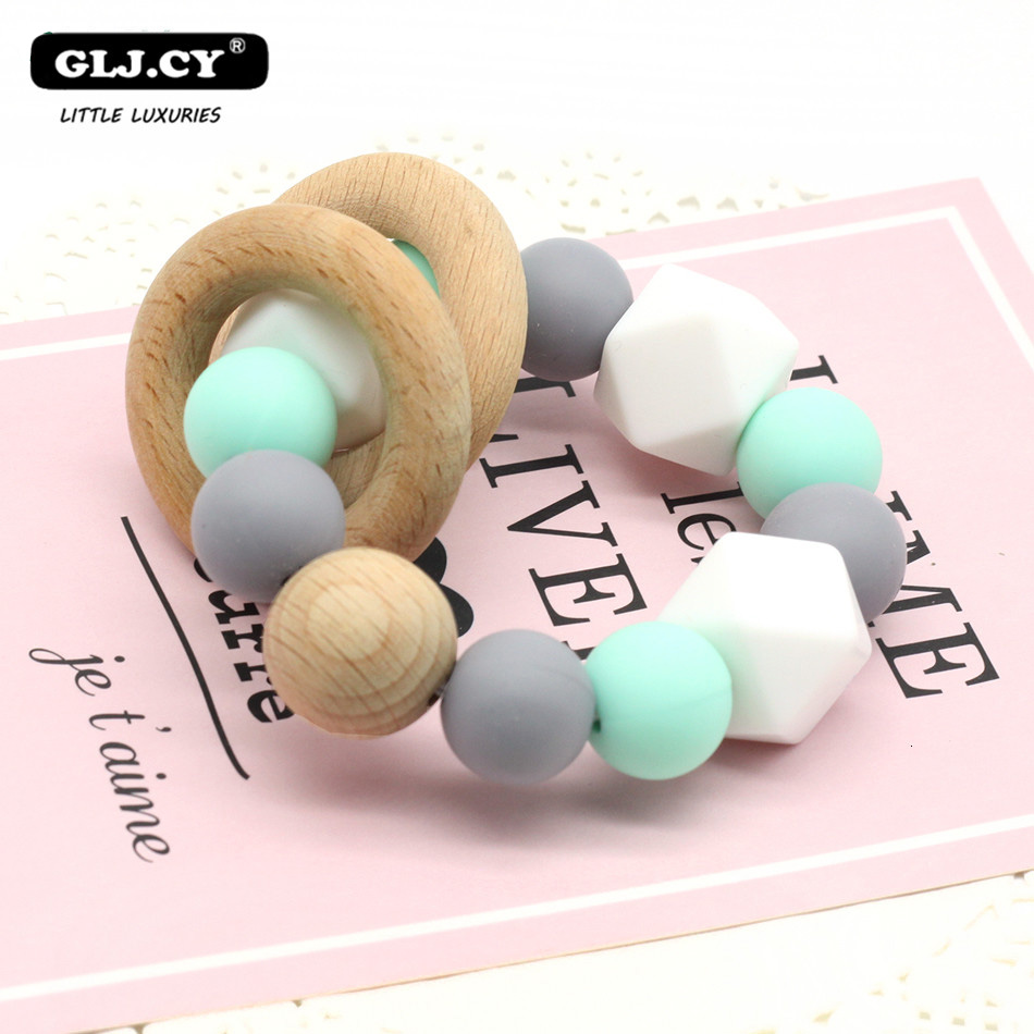 Beech Baby Bracelet Animal Shaped Jewelry Teething For Baby Organic Wood Silicone Beads Baby Rattle Stroller Accessories Toys