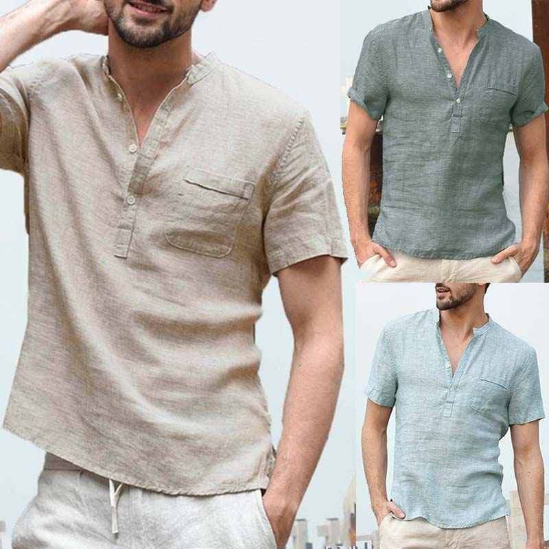 Men Plus Size Linen Short Sleeve Shirts Casual Solid Tunic Buttoned Half-open Split Tops Male Summer Tops Tee Pullover 3XL