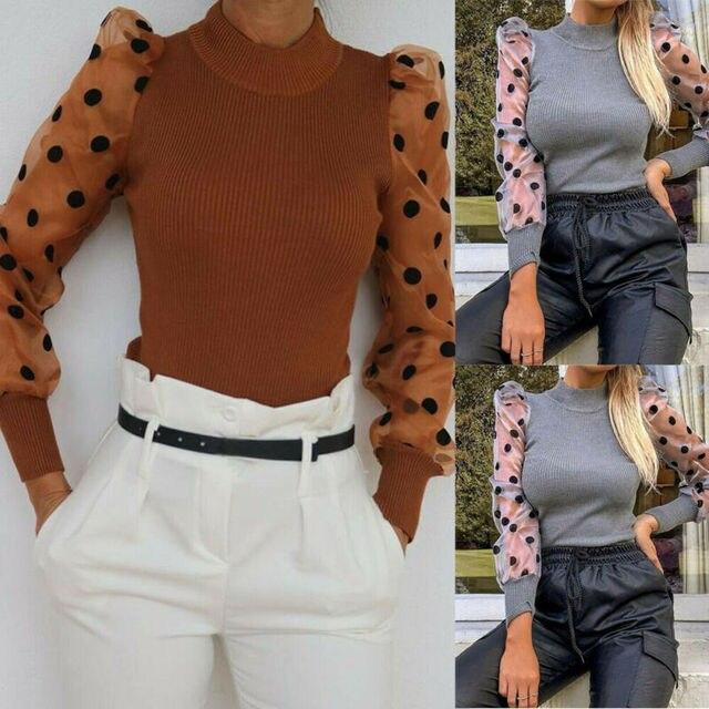 Elegant Slim Polka Dot Puff Long Sleeve Tops Shirt Turtleneck Fall Blouse 2