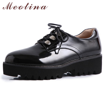 Meotina High Heels Women Pumps Natural Genuine Leather Thick Heels Shoes Cow Patent Leather Round Toe Shoes Lady Black Size 40