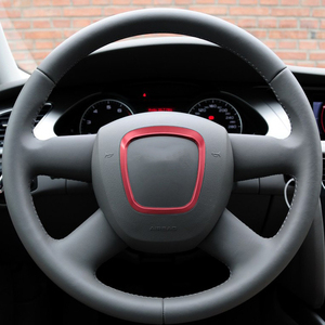 Image 2 - Refitting chrome steering wheel trim sticker emblems decorative frame cover sequins sticker accessories for Audi A4 A5 A6 Q5 Q7