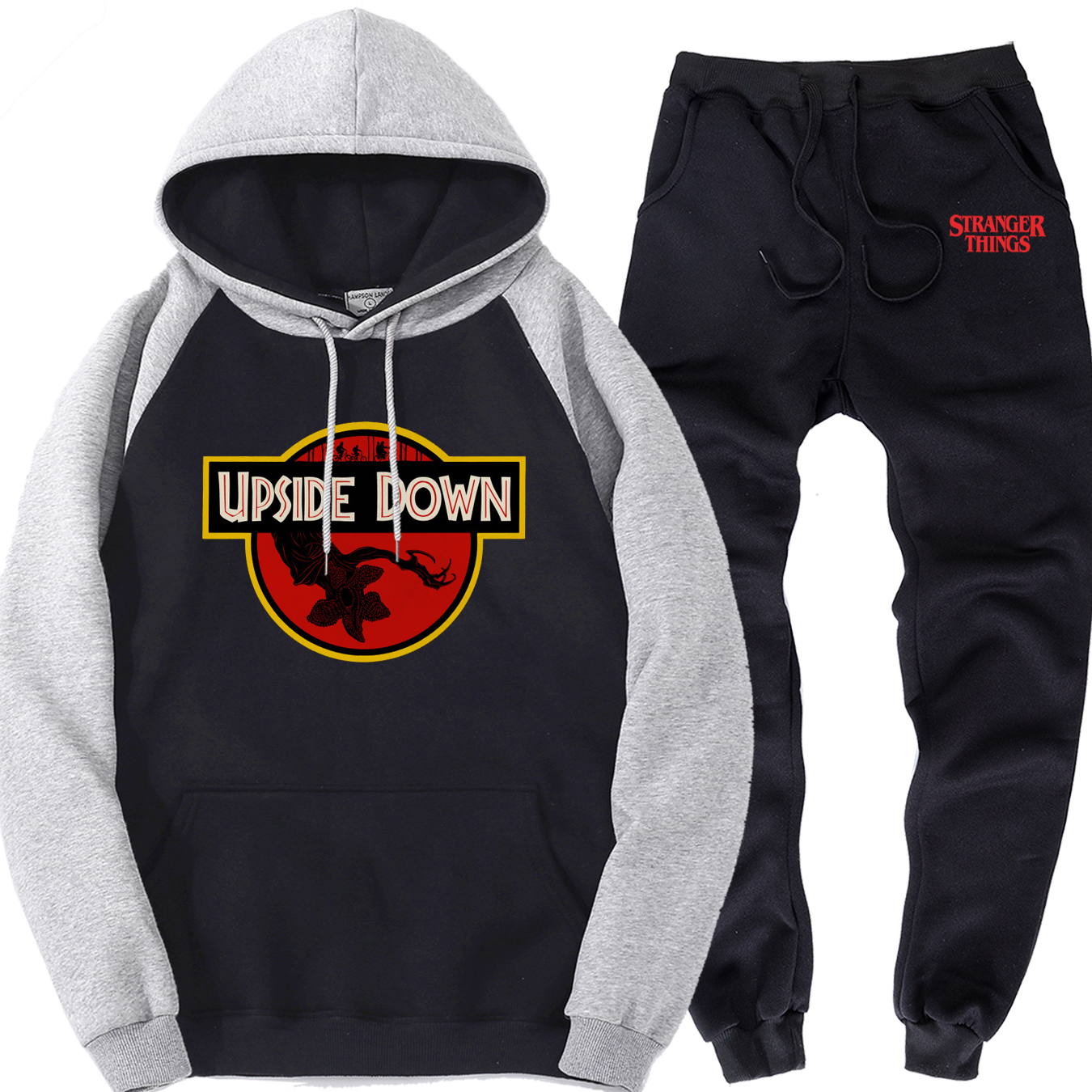 Stranger Things Mens Clothing Suit Upside Down Male Raglan Pullover Sports Pants Casual Brand Men Hipster Tracksuit Fleece Hoody