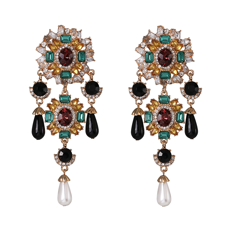Simulated Pearls Earrings For Women Crystal Statement Dangle Drop Earring Handmade Jewelry Accessories