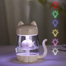 купить 3 in 1 Cat Air Humidifier Ultrasonic Cool-Mist Adorable Mini Humidifier With LED Light Mini USB Fan for Home office 350ML дешево