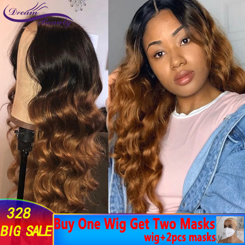 Ombre Wavy Human Hair Wig With Baby Hair Pre Plucked Lace Front Wigs Remy Brazilian Wigs Glueless Brown Ombre Wig Dream Beauty