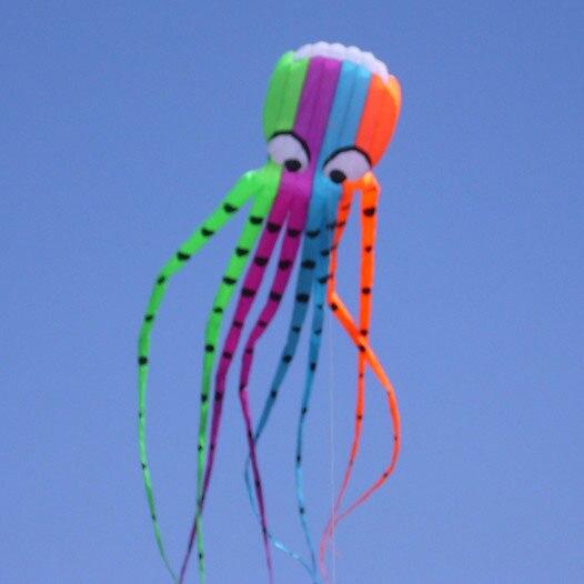 Livraison gratuite de haute qualité 8m poulpus cerfs-volants avec ligne de poignée de cerf-volant doux cerf-volant jouets volants hcxkite weifang ripstop cerf-volant parafoil