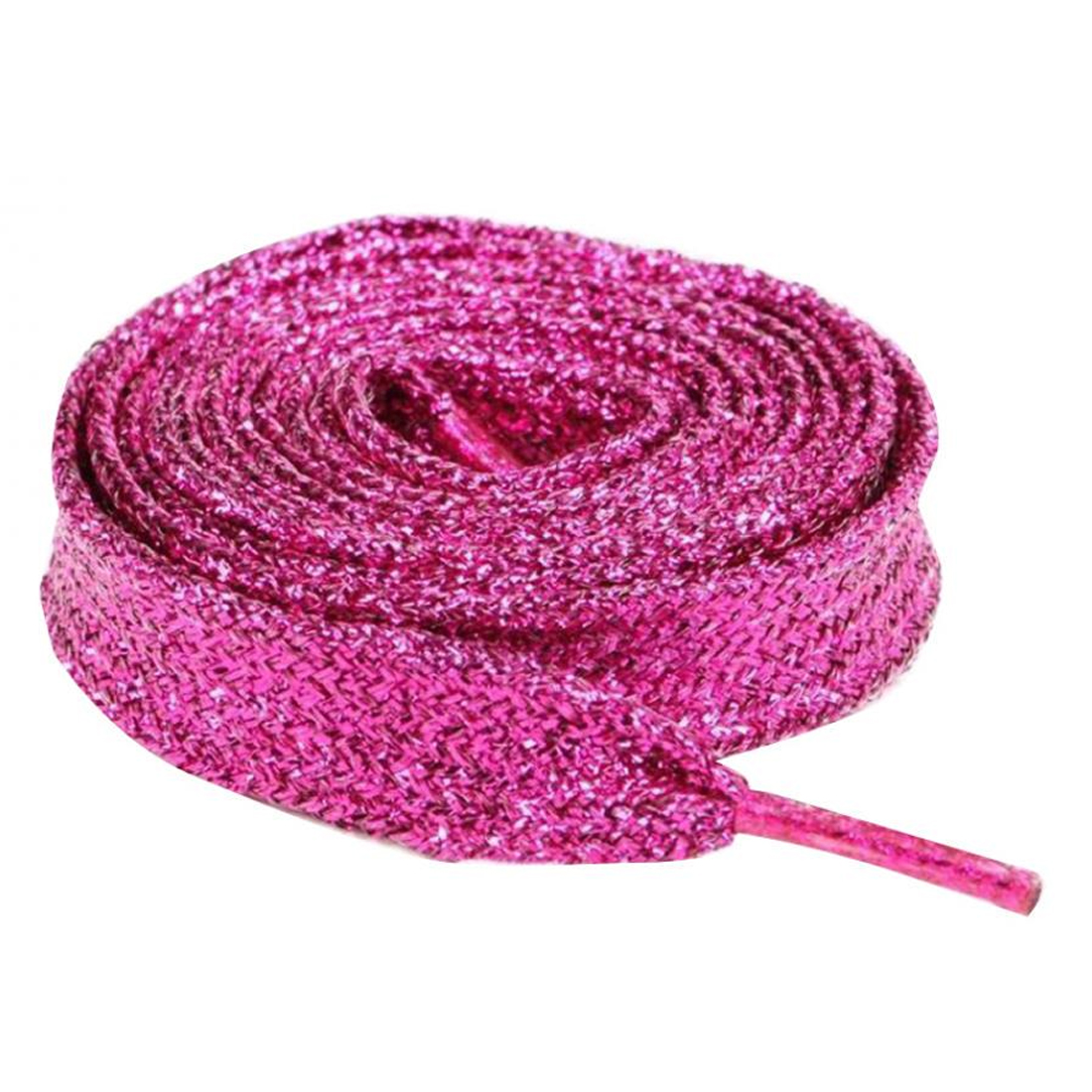 Pearlized Colors 1Pair 120cm Pearlized Colors Double Flat Metallic Glitter Shoelace Canvas Sneaker Shoe Laces 8 Colors