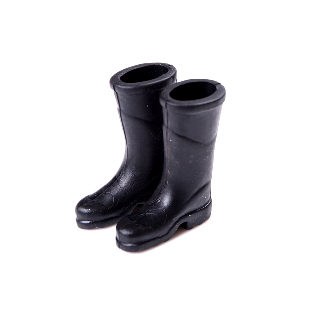 1Pair Rubber Rain Boots Doll House Furniture Miniature Shoes For Barbie Home Garden Toys Gifts Black