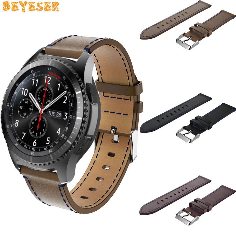 For Samsung Gear S3 Frontier Classic Leather blue line wrist strap For Huami AMAZFIT 2/2s For Huawei watch GT watchband Bracelet