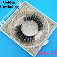Golden Unwinding MK-32 natural mink-false eyelashes bulk 3d mink lashes strips vendors custom packaging box