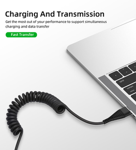Image 3 - 1.2M Retractable Spring Coiled Micro USB Cable For iPhone Samsung Android Mobile Phone Fast Charging USB Type C Cable  Wire Cord