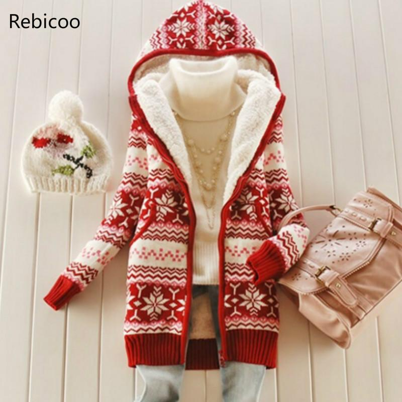 Women Thick Fleece Knitted Hooded Cardigans Snowflake Crocheted Sweaters Coat Slim Long Sleeved Thickening Velvet Winter Tops