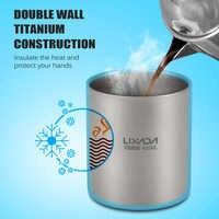 Lixada наружная чистая титановая двойная чашка для воды Титановая посуда для напитков походная кружка Сверхлегкая дорожная кружка