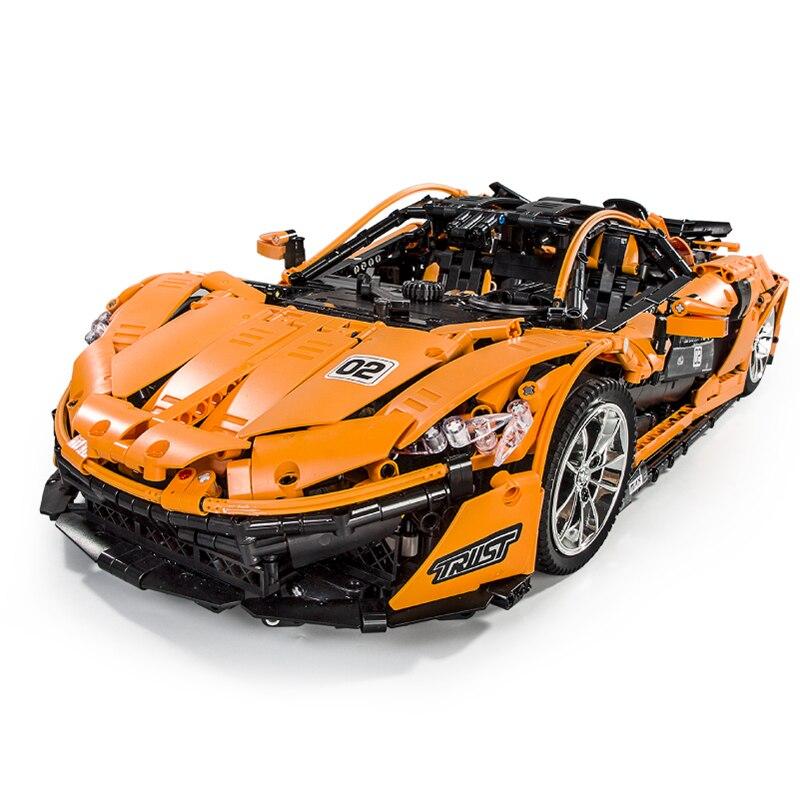 In Stock 13090 LEgoed Bricks Technic MOC-16915 Orange Super Racing Car McLarening P1 Building Blocks Hypercar Set Children Toys